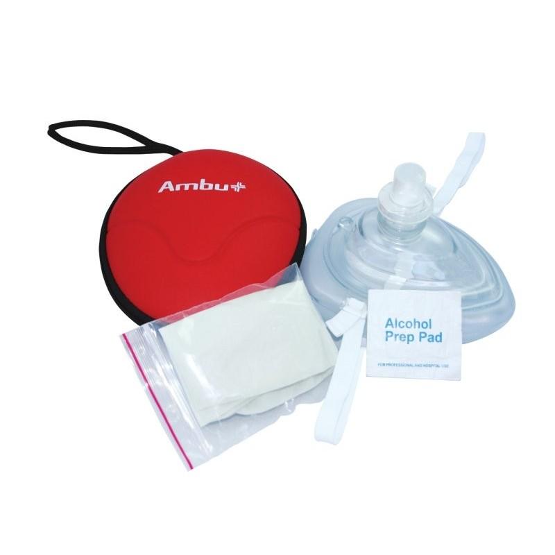 Maska ratownicza CPR Ambu Res-Cue Mask w etui zamykanym na zamek (kolor czerwony)